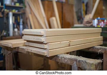 legno, pronto, produzione, assi, mobilia