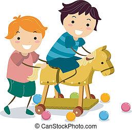 legno, ragazzi, cavallo, giocattolo