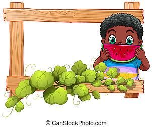 legno, ragazzo, cornice, anguria mangia