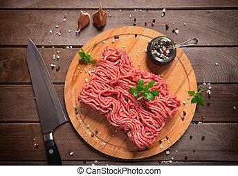 legno, rustico, carne tritata, fondo
