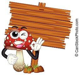 legno, sagoma, fungo, segno