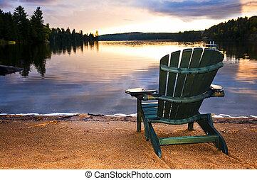 legno, sedia spiaggia, tramonto