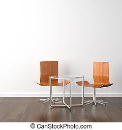 legno, sedie, bianco, due