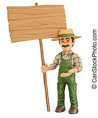 legno, segno bianco, giardiniere, 3d
