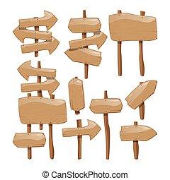 legno, set, assi, segno bianco