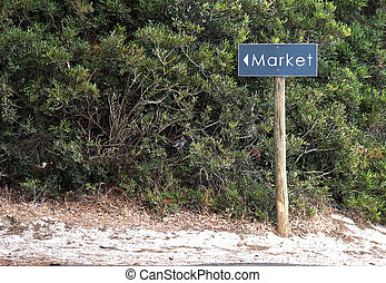 legno, signpost, vendite, indicazione, o, mercato