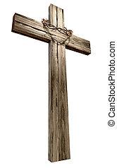 legno, spine, corona, crocifisso