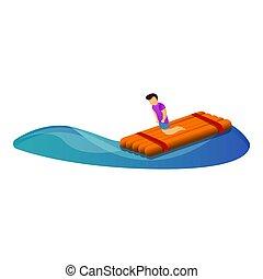 legno, stile, icona, galleggiante, uomo, cartone animato