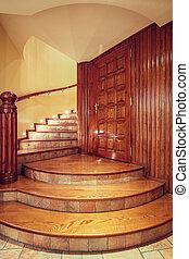 legno, stile, vecchio, scala