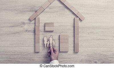 legno, suo, concetto, famiglia, dentro, collocazione, taglio, proprietà, casa, fuori, cornice, uomo