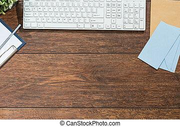 legno, tastiera, scrivania