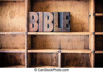legno, tema, concetto, letterpress, bibbia