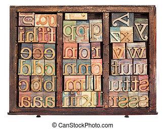 legno, tipo, letterpress