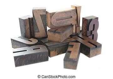 legno, tipo, letterpress, disposizione