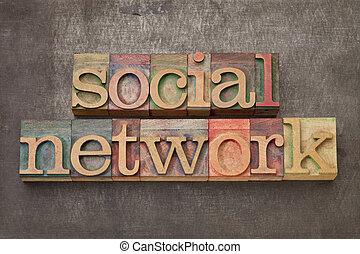 legno, tipo, rete, sociale
