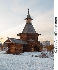 legno, tramonto, chiesa