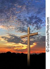 legno, tramonto, croce