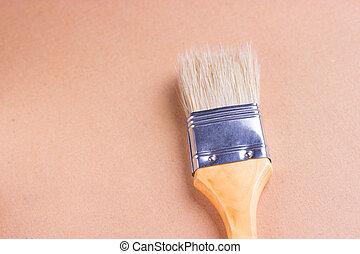 legno, uno, vernice, closeup, spazzola, tavola