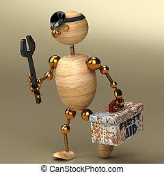 legno, uomo, dottore
