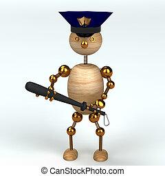 legno, uomo polizia