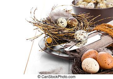 legno, uova, decorazione, fondo, quaglia, tavola, bianco