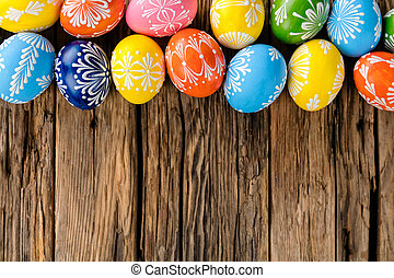 legno, uova, pasqua, fondo