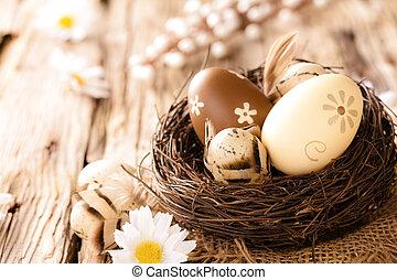 legno, uova, pasqua, superficie