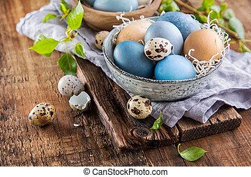legno, uova, pasqua, superficie, colorito