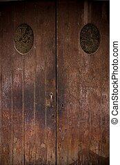 legno, vecchio, grunge, porta