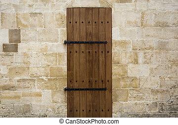 legno, vecchio, parete, pietra, porta