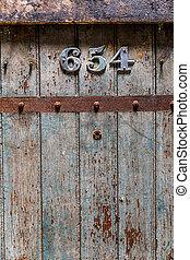 legno, vecchio, porta, closeup, prigione