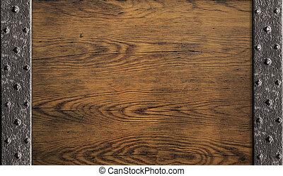 legno, vecchio, porta, medievale, fondo