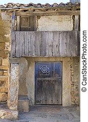 legno, vendemmia, vecchio, porta, balcone
