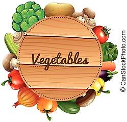 legno, verdure fresche, segno