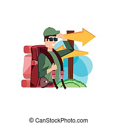 legno, viaggiare borsa, freccia, viaggiatore, segnale, uomo
