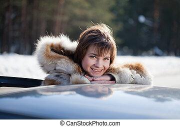 lei, donna, felice, automobile
