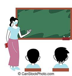 lei, insegnante, studenti, maschere, aula, il portare