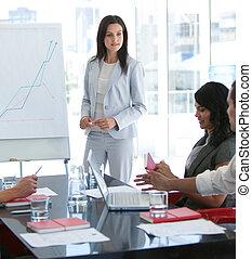 lei, parlare, presentazione, collega, donna d'affari