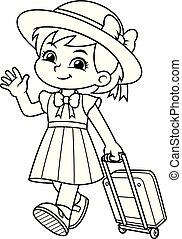 lei, viaggiare borsa, bw, viaggiare, ragazza