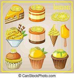 lemon., dolci, set, vettore, illustrazione