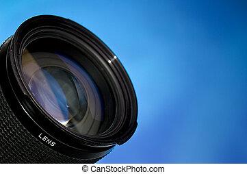 lente, blu, fotografia, sopra