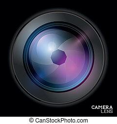 lente, macchina fotografica, vector.