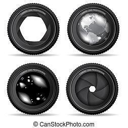 lente, macchina fotografica, vettore, illustrazione