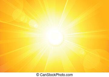 lente, sole, luminoso, vettore, bagliore