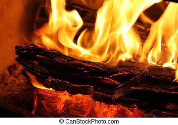 lento, legno, closeup, combustione, fire.