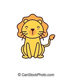 leone, carattere, comico, animale, carino