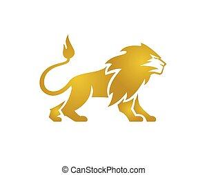leone, grande, vettore, standing, dorato