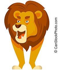 leone, standing, fronte, vista.
