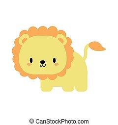 leone, stile, appartamento, bambino, icona, kawaii, carino