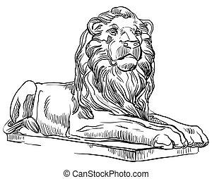 leone, vettore, pietra, 3